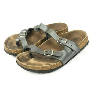 Mephisto Leather Strap Cork Footbed Sandals